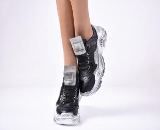 Дамски спортни обувки естествена кожа черни. SLMN-1013301