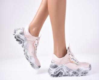 Дамски спортни обувки естествена кожа пудра. IOFZ-1013302