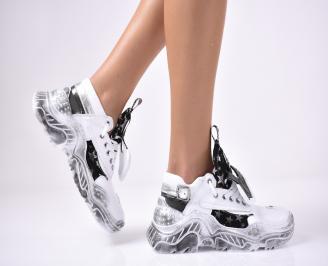 Дамски спортни обувки естествена кожа бели TTLM-1013681