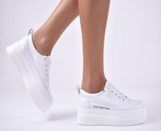 Дамски спортни обувки естествена кожа бели BAMD-1014190