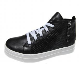 Дамски спортни обувки естествена кожа черни MNHE-21250
