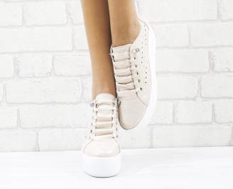 Дамски спортни обувки естествена кожа пудра MCRQ-26546