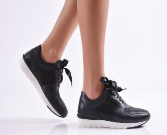 Дамски спортни обувки  естествена кожа черни QDAA-26906