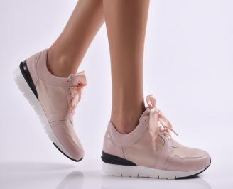 Дамски спортни обувки  естествена кожа пудра TGEE-26921