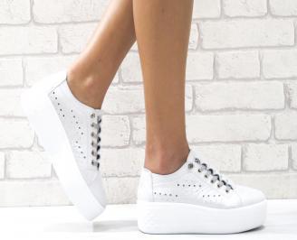 Дамски спортни обувки сребристи естествена кожа OAKJ-26481