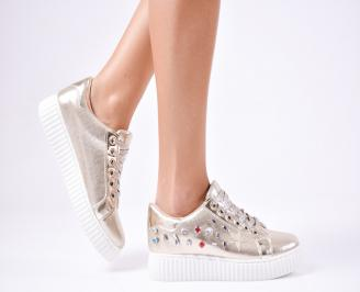 Дамски спортни  обувки текстил златисти UKDL-1010250
