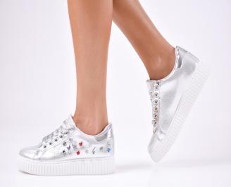 Дамски спортни  обувки текстил сребристи GBRJ-1010251