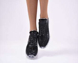 Дамски спортни  обувки текстил черни APUS-1012124