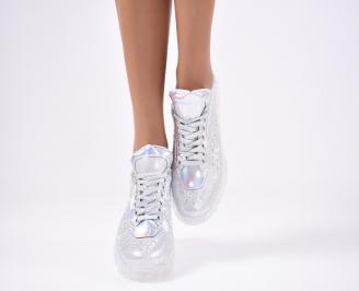 Дамски спортни  обувки текстил сребристи ZABM-1012125