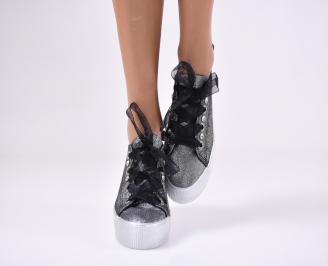 Дамски спортни обувки текстил черни 4
