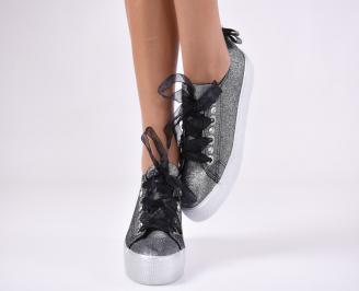 Дамски спортни обувки текстил черни 5
