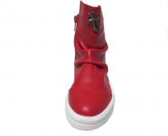 Детски боти  червени от еко кожа WZDP-22519
