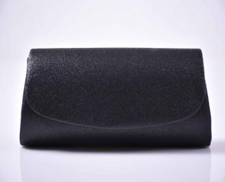 Елегантна абитуриентска чанта ситен брокат черна  WVXD-1014880