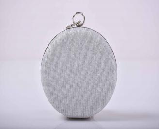 Елегантна абитуриентска чанта ситен брокат сребриста  ICWO-1015273