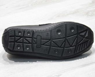 Ежедневни мъжки обувки естествена кожа черни XLGA-23498