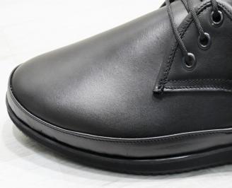 Ежедневни мъжки обувки естествена кожа черни SGDA-23741