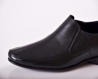 фициални мъжки обувки от естествена кожа черни ENKR-23378