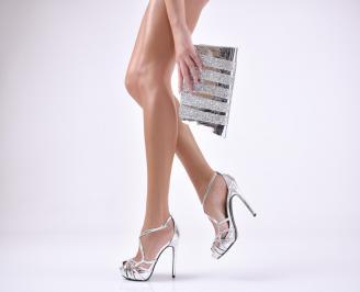 Комплект бална чанта и сандали  еко кожа/лак сребристи OCTU-1011035