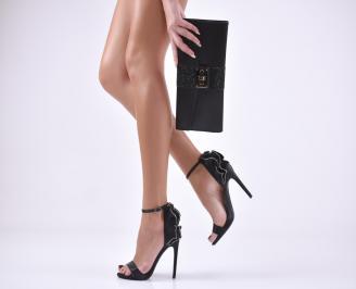 Комплект бална чанта и сандали сатен черни CRGC-1011036