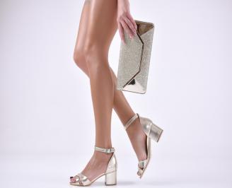 Комплект бална чанта и сандали  еко кожа златисти NCRW-1011037
