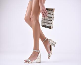 Комплект бална чанта и сандали  еко кожа златисти NDRE-1011038