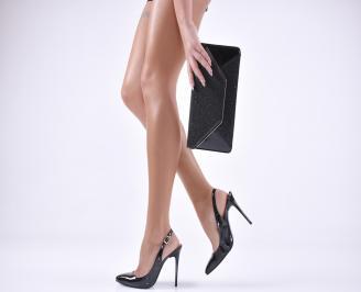 Комплект бална чанта и сандали еко кожа/лак черни LXQH-1011039