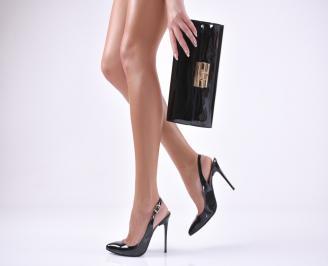 Комплект бална чанта и сандали еко кожа/лак черни QMZQ-1011040