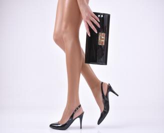 Комплект бална чанта и сандали еко кожа/лак черни JEPE-1011041