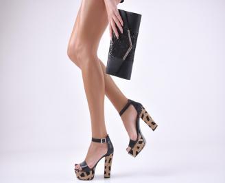 Комплект бална чанта и сандали еко кожа черни GVYM-1011042