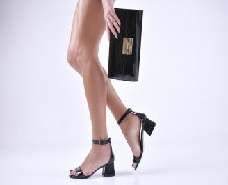 Комплект бална чанта и сандали еко кожа/лак черни DIZS-1011043