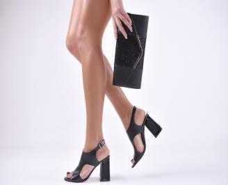 Комплект бална чанта и сандали еко кожа черни CSOB-1011044