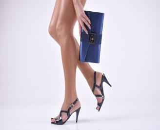 Комплект бална чанта и сандали еко кожа/лак сини JMXN-1011045