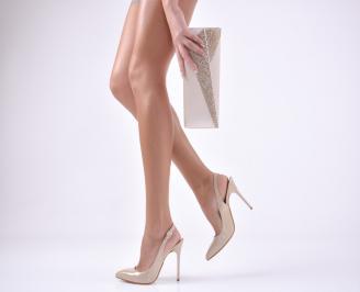 Комплект бална чанта и сандали еко кожа/лак бежови QMUA-1011046