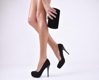 Комплект бална чанта и обувки набук черни RSYO-1011047
