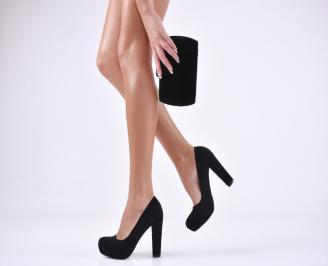 Комплект бална чанта и обувки набук черни JRRO-1011048