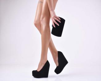 Комплект бална чанта и обувки набук черни SFEE-1011049