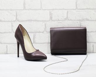 Комплект дамски обувки и чанта еко кожа бордо BKNK-25826