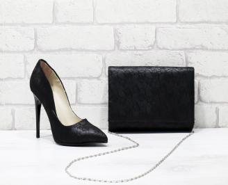 Комплект дамски обувки и чанта еко кожа /дантела черни OMVM-25827