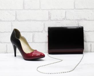 Комплект дамски обувки и чанта еко кожа/лак червено/черно CESZ-25828