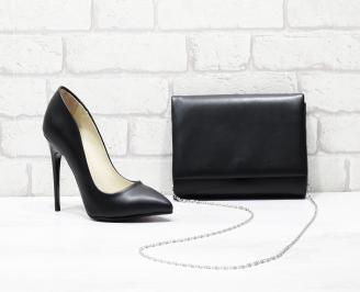 Комплект дамски обувки и чанта еко кожа  черни JSZX-25829