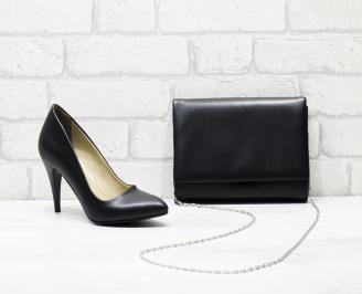 Комплект дамски обувки и чанта еко кожа  черни OVCV-25830