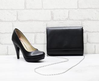 Комплект дамски обувки и чанта еко кожа  черни TROQ-25831