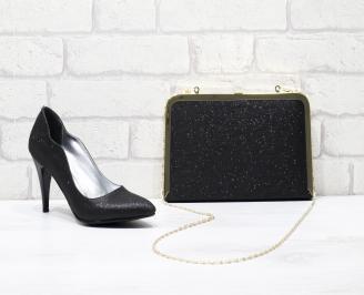 Комплект дамски обувки и чанта еко кожа  черни LPVI-25832