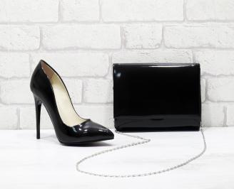 Комплект дамски обувки и чанта еко кожа/лак  черни JTPT-25833
