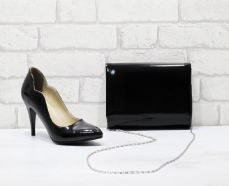 Комплект дамски обувки и чанта еко кожа/лак  черни EIHT-25834