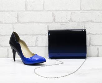 Комплект дамски обувки и чанта еко кожа/лак сини/черно BPYZ-25835