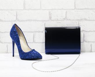 Комплект дамски обувки и чанта еко кожа сини CLIK-25836
