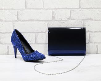 Комплект дамски обувки и чанта еко кожа сини QEON-25837