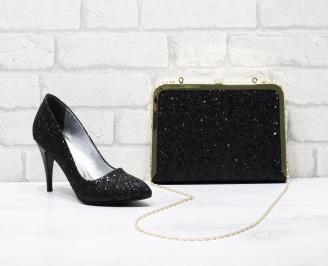 Комплект дамски обувки и чанта еко кожа  черни OYJX-25838