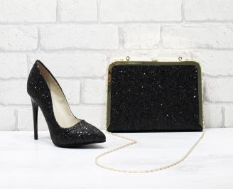 Комплект дамски обувки и чанта еко кожа  черни WKXN-25839
